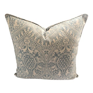 """Boho Chic Stroheim Light Blue & White Indoor-Outdoor Pillow - 22"""" For Sale"""