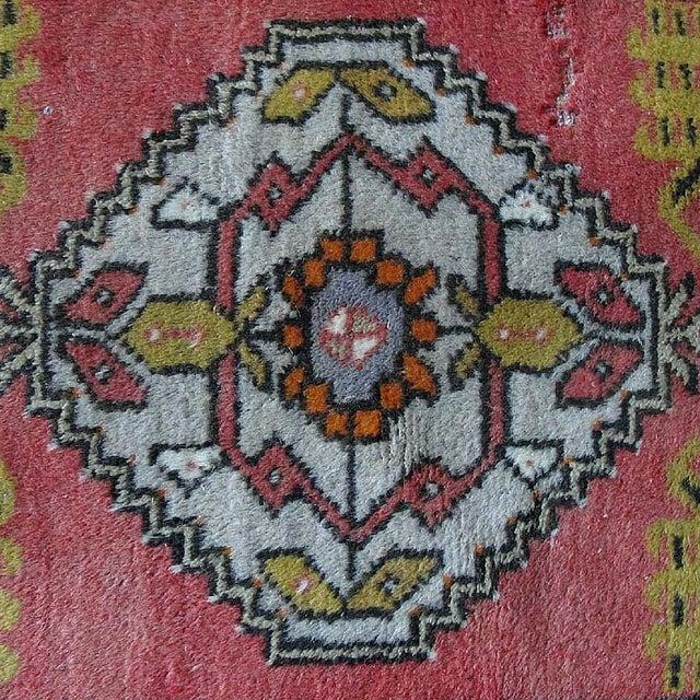 "Vintage Dark Pink Distressed Turkish Rug - 1'8"" x 3'2"" - Image 4 of 9"