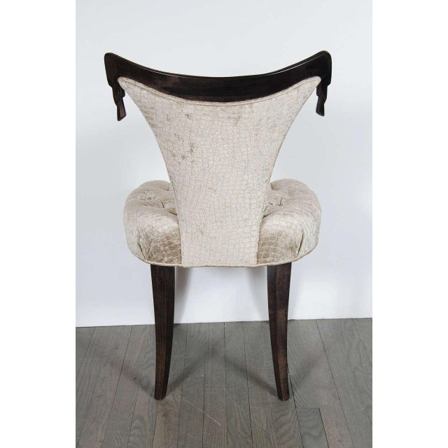 Wood 1940s Hollywood Regency Draped Chair by Grosfeld House in Ebonized Walnut For Sale - Image 7 of 8
