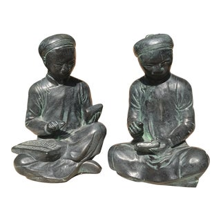 Austin Productions Vintage Asian Scholar Bookends - a Pair For Sale