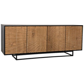 Ra Sideboard, Hand Rubbed Black With Teak For Sale