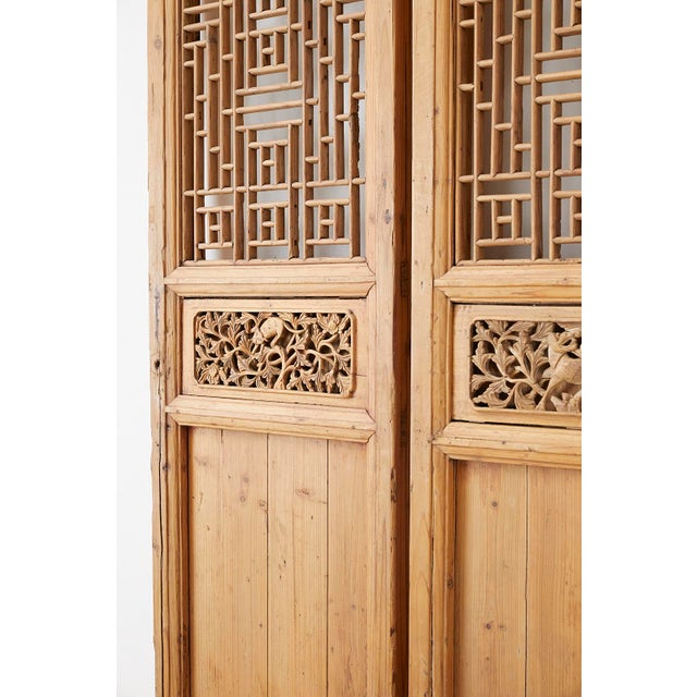 Early 20th Century Pair of Chinese Carved Doors With Lattice Windows For Sale - Image 5 of 13