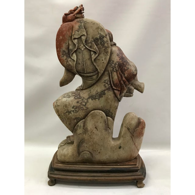 Chinese Art Carved Soapstone Monk With Wood Stand For Sale - Image 9 of 10