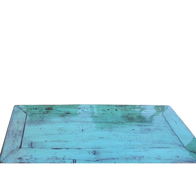 Chinese Rustic Rough Wood Distressed Aqua Blue Side Table Cabinet For Sale - Image 4 of 8