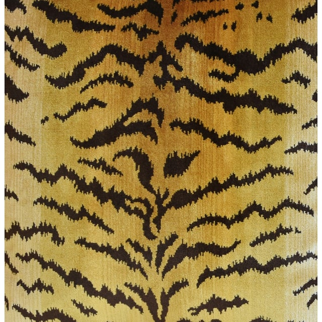 """Hollywood Regency Scalamandre Le Tigre Tiger Silk Feather/Down Pillow 23"""" Square For Sale - Image 3 of 7"""