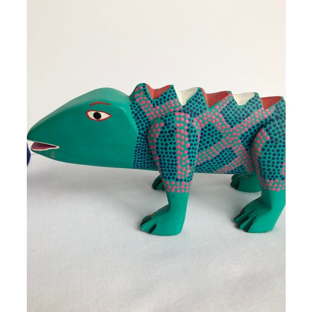 Wood Late 20th Century Mexican Folk Art Lizard and Skunk - Set of 2 For Sale - Image 7 of 8