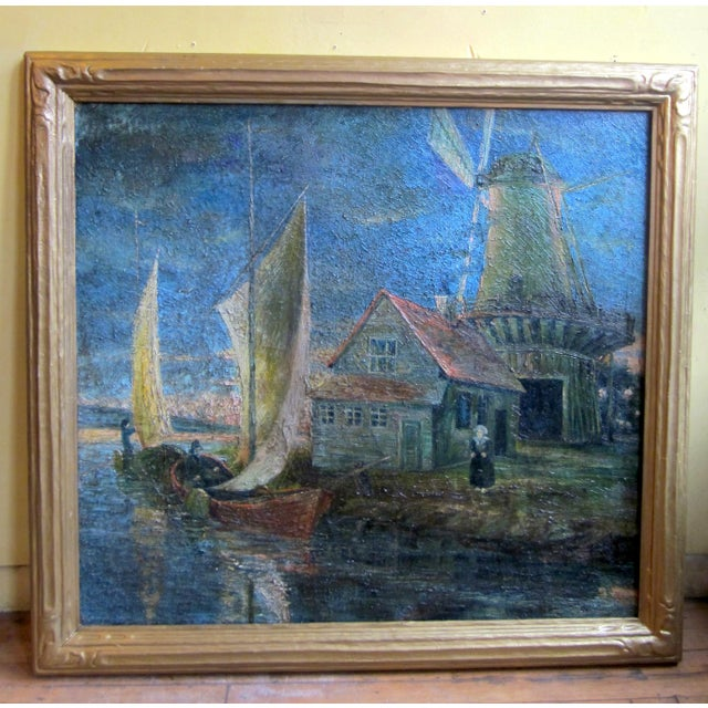 Blue 1920s Oil on Canvas Palette Knife Painting of Dutch Fishing Village Scene by Chicago Wpa Artist George Hruska For Sale - Image 8 of 8