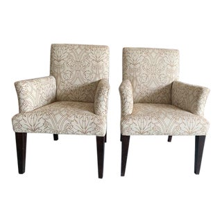 Mitchell Gold Patterned Armchairs - A Pair For Sale