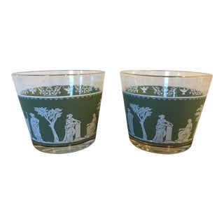 Mid-Century Vintage Jeannette Glass Grecian Hellenic Ice Buckets — Set of 2 For Sale