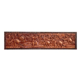 Large Vintage Wall Sculpture 3d Hand Carved Relief Teak Panel For Sale