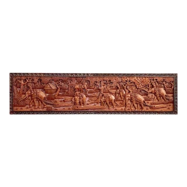 Large Vintage Wall Sculpture 3d Hand Carved Relief Teak Panel For Sale