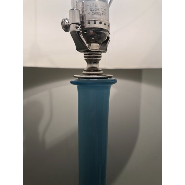 Mid-Century Modern Pair of 1950s Aquamarine Murano Glass Tall Lamps For Sale - Image 3 of 5