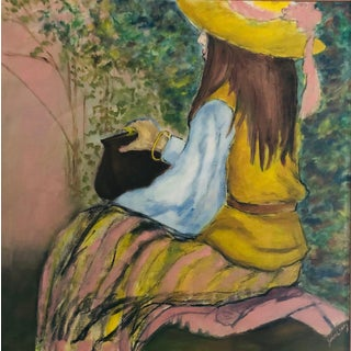 Impressionist Painting of Girl on a Park Bench For Sale