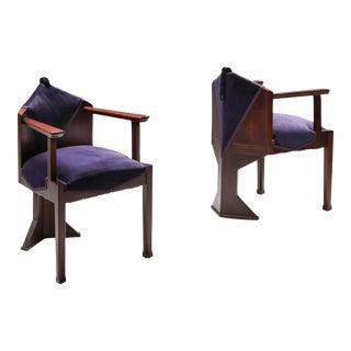 1950s Dutch Art Deco 'Amsterdamse School' Armchairs - A Pair For Sale