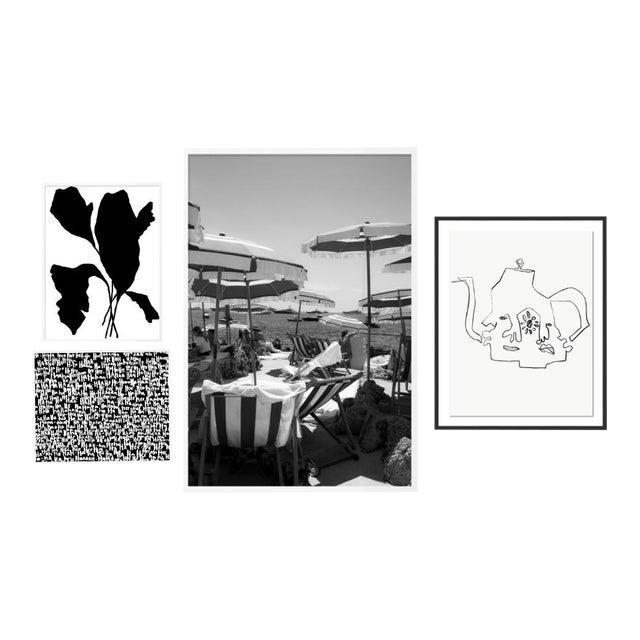 Black and White Gallery Wall, Set of 4 For Sale