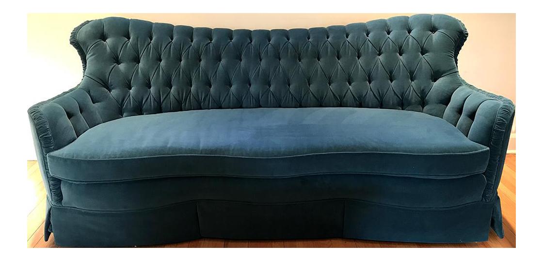 Victorian Turquoise Velvet Sofa For Sale