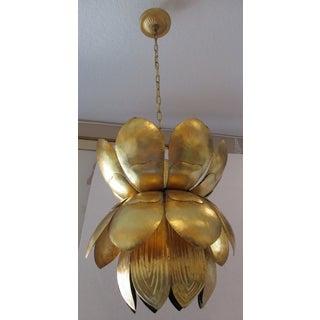 1970s Gold Leaf Metal Lotus Chandelier / Pendant Preview