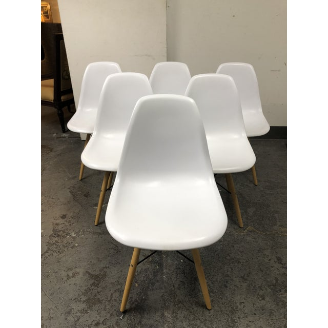 Eames Style White Molded Eiffel Chairs - Set of Six For Sale - Image 10 of 10
