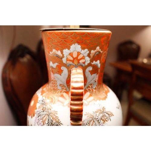 Japanese Satsuma Ware Vase Lamp For Sale - Image 6 of 11