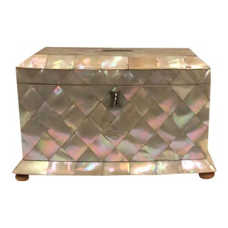 19th Century Mother of Pearl Tea Caddy Box For Sale