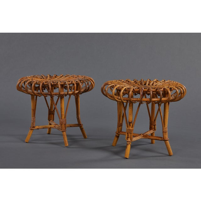 A Petite Pair of Sculptural Rattan Stools For Sale - Image 10 of 10