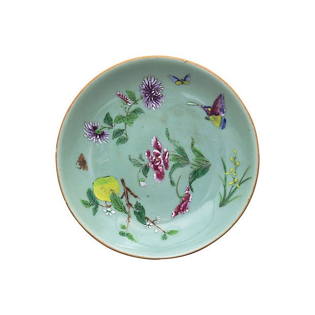 Asian Antique Chinese Celadon Wucai Plates For Sale - Image 3 of 5