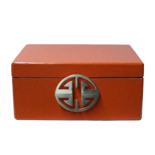 Oriental Round Hardware Orange Rectangular Container Box Large For Sale