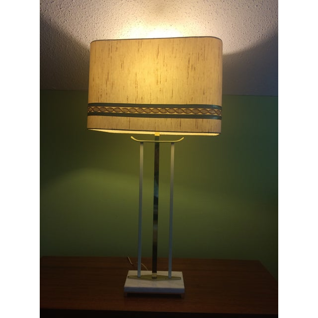 Mid-Century Brass & Marble Table Lamp For Sale - Image 4 of 6