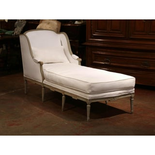 19th Century French Louis XVI Carved and Painted Eight-Leg Chaise With Muslin Preview