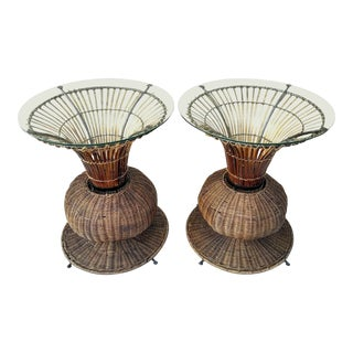 Vintage Bamboo and Rattan Side Tables - a Pair
