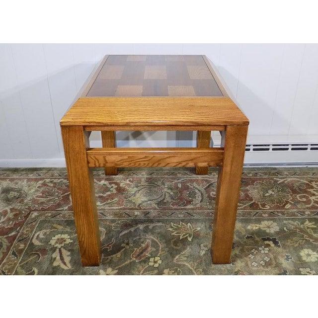 1980s Lane Oak & Walnut Parquet Top End Table For Sale - Image 5 of 12
