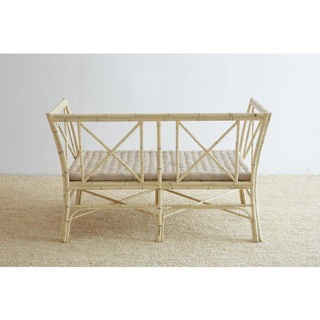 Hollywood Regency Lacquered Bamboo Settee or Bench For Sale In San Francisco - Image 6 of 13