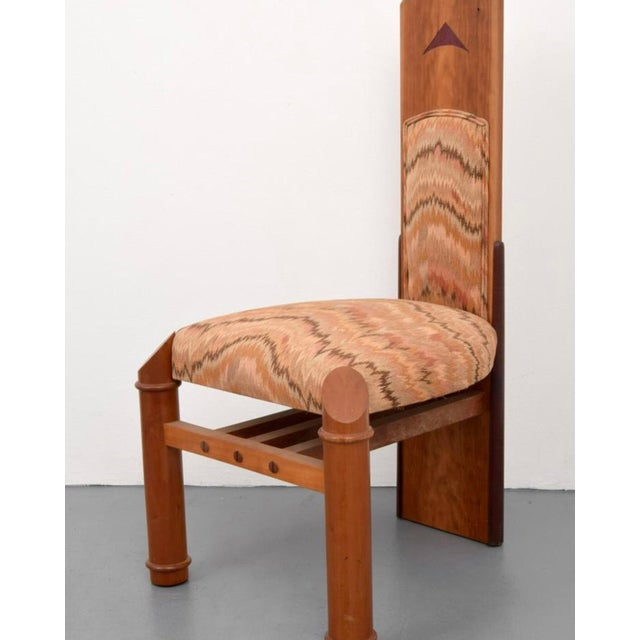 """Post Modern Jack Larimore Handmade """"Fallopian"""" High Back Mahogany Dining Chairs - Set of 4 For Sale - Image 4 of 6"""