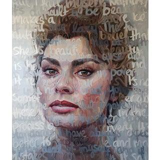 Expressionist Oil Portrait of Sofia Loren For Sale