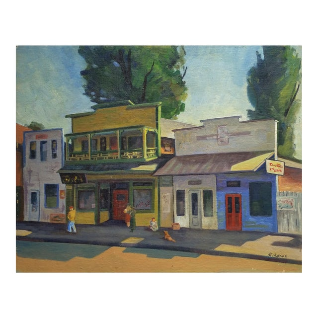 1960s Vintage California Chinatown Painting For Sale