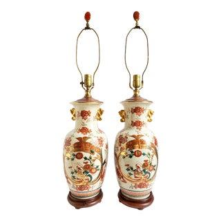 Vintage Asian Style Porcelain Lamps-A Pair For Sale