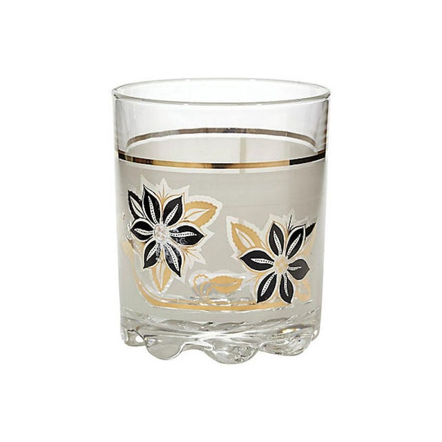 Mid-Century Modern Frosted Black & Gilt Glass Tumblers, Set of 5 For Sale - Image 3 of 4