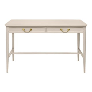 Pentreath & Hall Collection Writing Desk in Warm Grey With Olive Green Drawer Interior For Sale