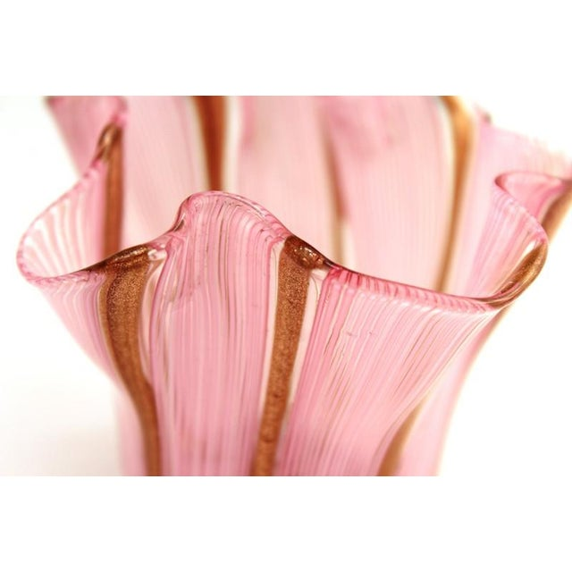 Pink Murano Glass Handkerchief Vase in Pink & Gold For Sale - Image 8 of 9