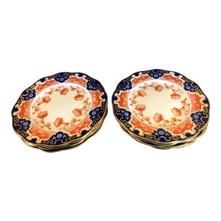 Set of 12 Antique English Imari Luncheon Plates - Aynsley For Sale