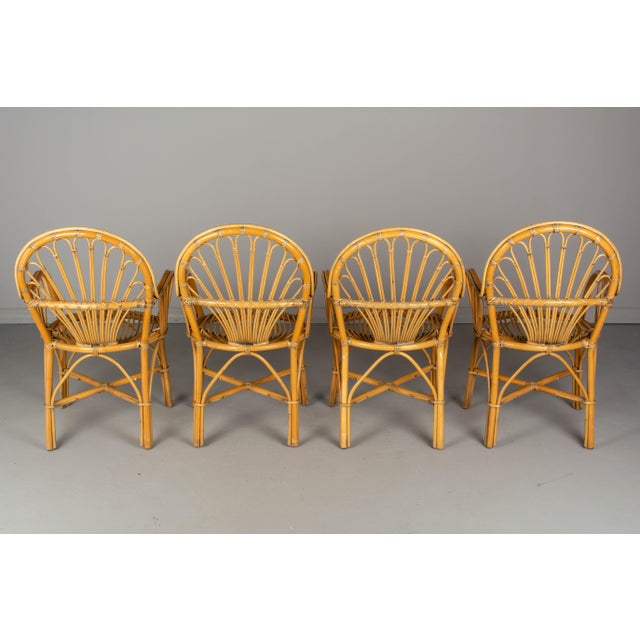 French Bamboo & Rattan Dining Chairs- Set of 4 For Sale - Image 4 of 11