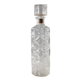 Vintage Glass Liquor Decanter Bottle Faceted Mid Century