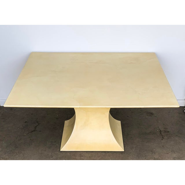 Karl Springer Lacquered Square Goatskin Parchment Dining Table W/ Coa For Sale - Image 9 of 9