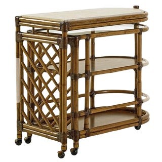 Boho Chic Twin Palms Bamboo Bar Cart For Sale