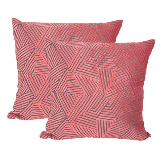 "Piper Collection Coral Velvet ""Olivia"" Pillows - a Pair"