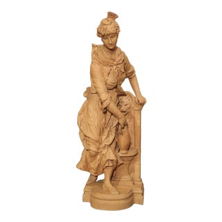 19th Century French Terra Cotta Statue of a Woman at a Fountain For Sale