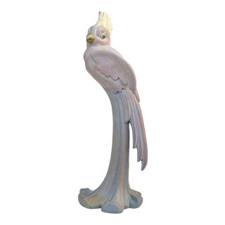 Vintage Pink Cockatoo Parrot Art Deco Wood Carved Sculpture For Sale