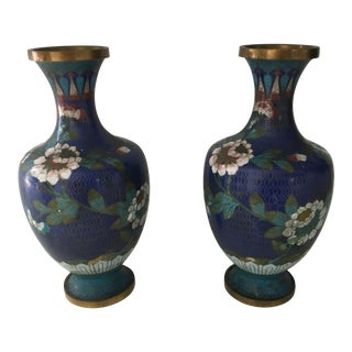 Vintage Colbalt Blue Cloisonné Vases - A Pair For Sale