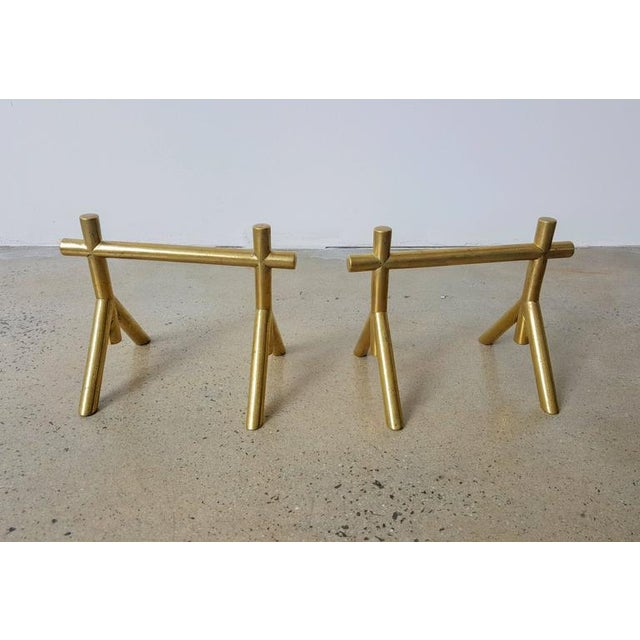 English Traditional 1900s English Attributed to Christopher Dresser Petite Solid Brass Andirons - a Pair For Sale - Image 3 of 5