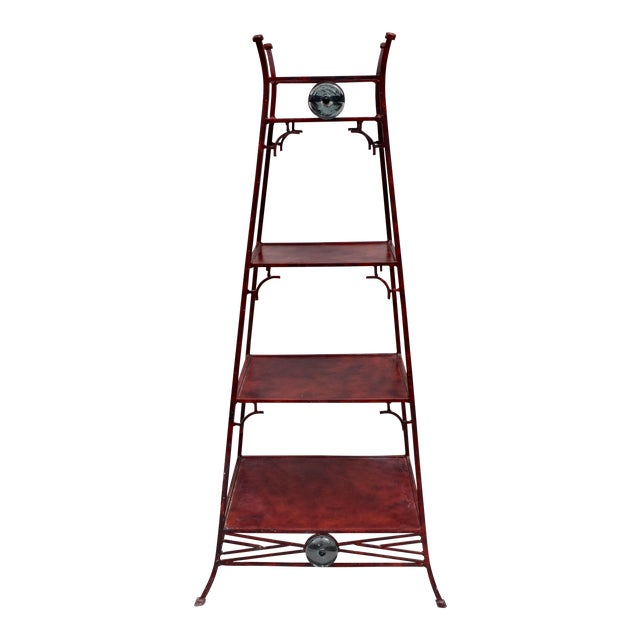 Iron Chinoiserie Pagoda Etagere by Palecek For Sale